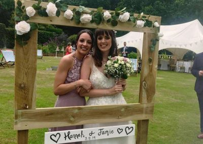 photo frame prop with bride and bridesmaid