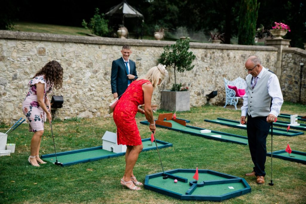 mini golf with guests playing