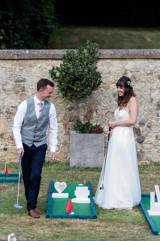 mini golf with bride and groom