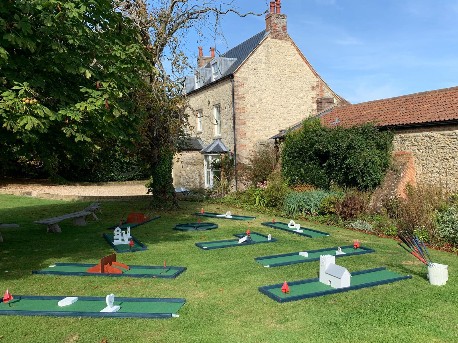 mini golf set up East Afton Farmhouse