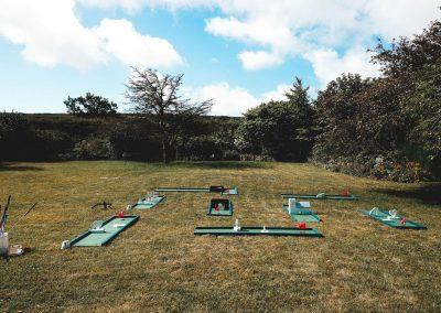 mini golf set up at east afton farmhouse