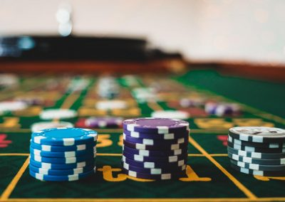 casino chips on a roulette table