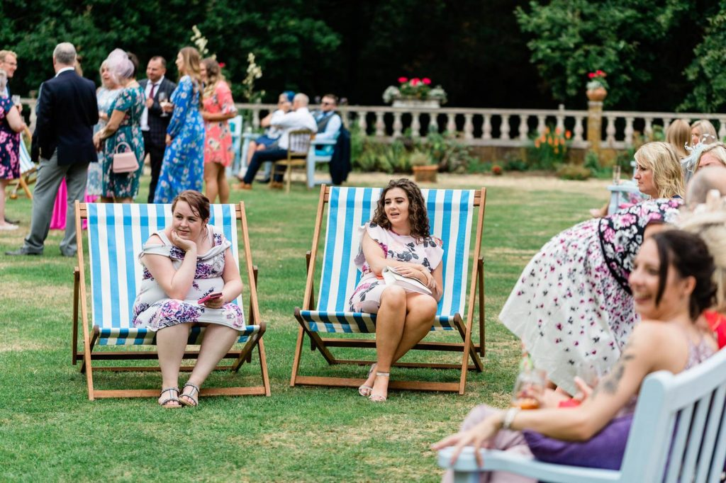 double deckchairs at a wedding for hire